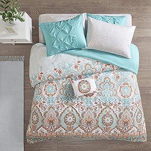 Intelligent Design Vinnie 8 Pieces Brushed Solid Microfiber Comforter and Sheet Set Bag Bedding, Full Size, Aqua