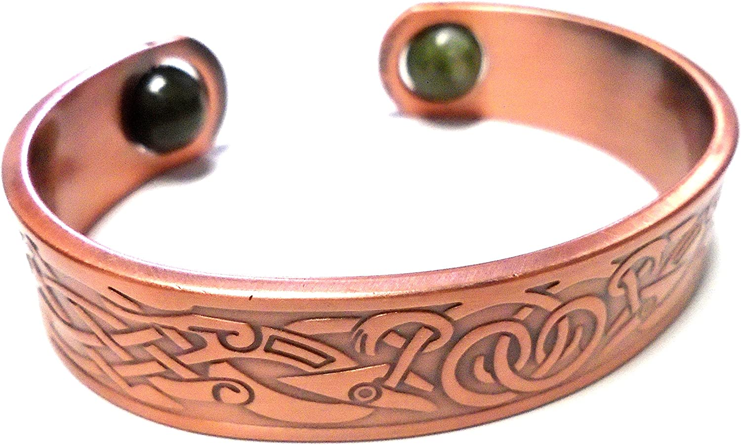 "Irish Connemara Marble""Copper Spring Bangle"" Bracelet"