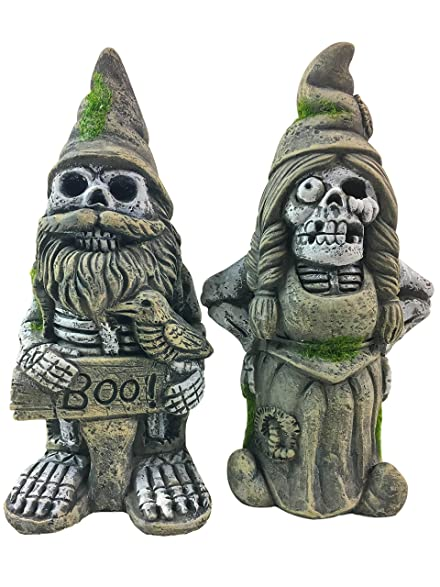 Halloween Zombie Married Couple Garden Gnome Skeleton Statues