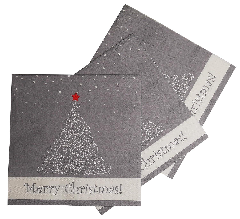 3-Ply 33 x 33 cm Merry Christmas Merry Christmas Red Set of 2 // 40 Black Christmas Tree Serviettes