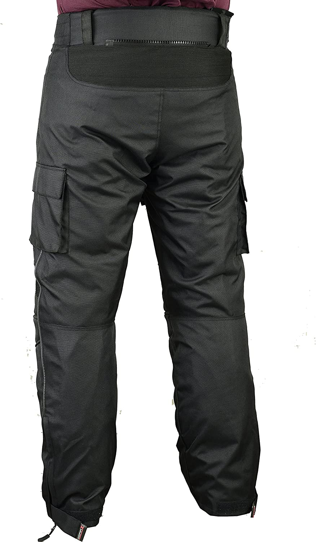 W36 L34 Black Mens Cargo Motorbike Protective Trousers Waterproof