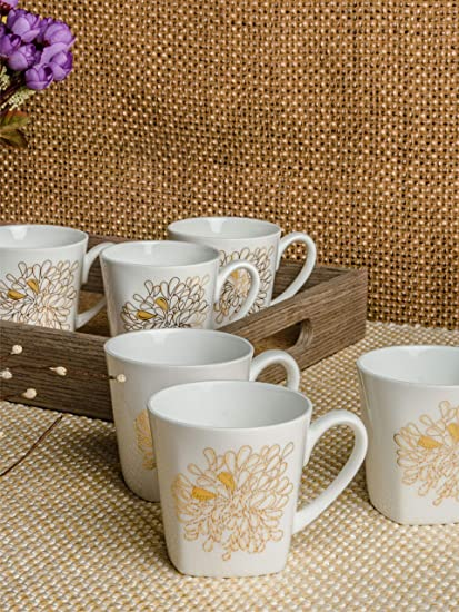 Buy Sonaki Bone China Tea Cups Coffee Mugs With Real Gold Design Print Medium Size White Set Of 6 Online At Low Prices In India Amazon In