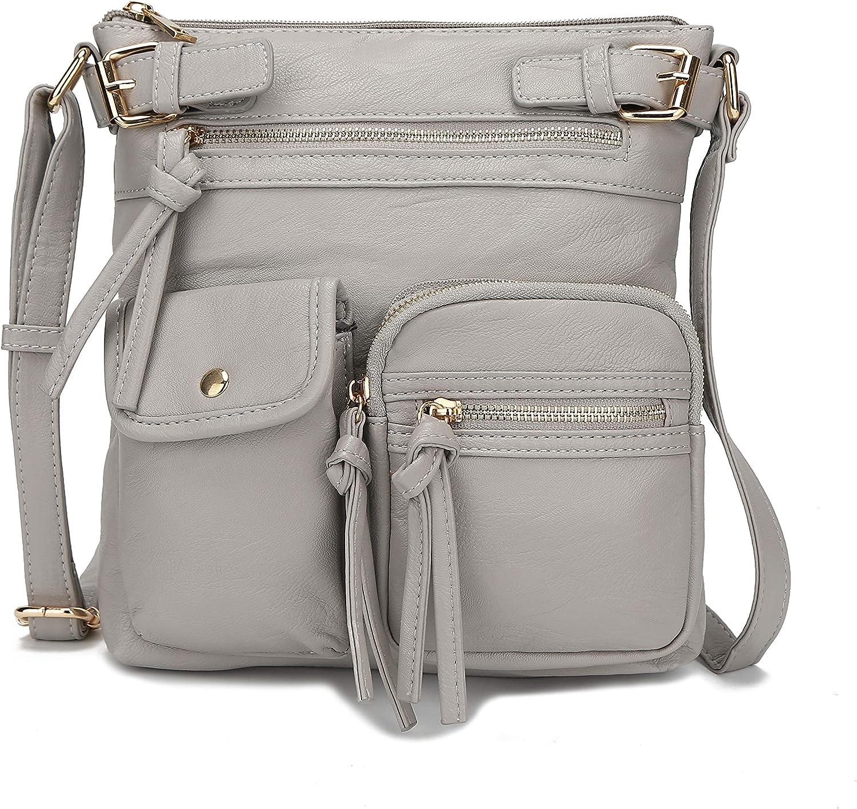 MKF Crossbody Bag for Women: PU Leather Tote Shoulder Bag, Soft Slouchy Handbag Purse, Lady Multi Pocket Pocketbook
