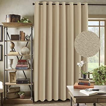 Sliding Glass Door Faux Linen Curtains  Primitive Linen Large Curtains For Living  Room Privacy Blinds