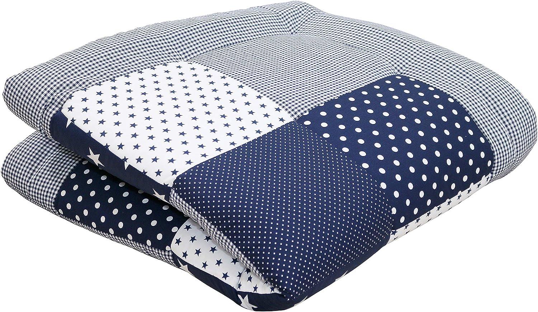 Alfombra para gatear de ULLENBOOM /® con estrellas azules manta para beb/é de 100/x/100 cm; ideal como colcha para el cochecito; apta como alfombra de juegos