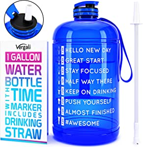 Vergali 1 Gallon Water Bottle with Time Marker and Straw. Large Motivational Sports Water Jug to Increase Your Daily Water Intake. Made of BPA Free, Leakproof, Crack Proof, PETG Plastic