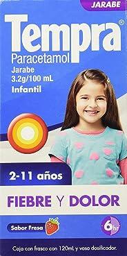 Jarabe Infantil para Fiebre y Dolor, Tempra, Sabor Fresa, 120 ml