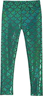product image for City Threads Girls Leggings Metallic Mermaid Print Shiny Colorful Fun Ankle Length Made in USA