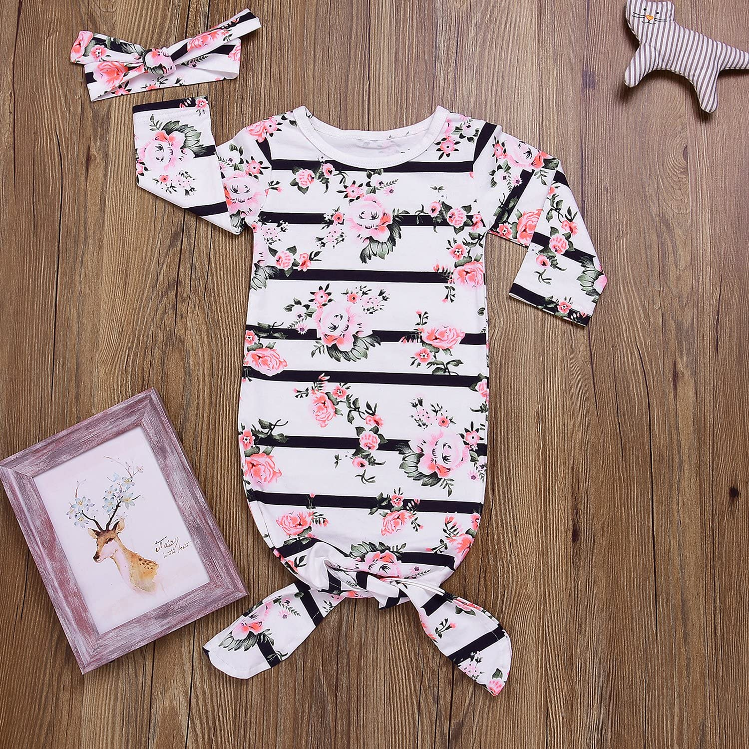 Mini honey Newborn Baby Sleepy Floral Striped Gown Headband Sleepwear Romper Sleeping Bags