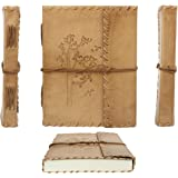 Second May Handmade Leather Diary Journal Tree Embossed Handmade Medium Vintage Leather Journal Diary ,Beige
