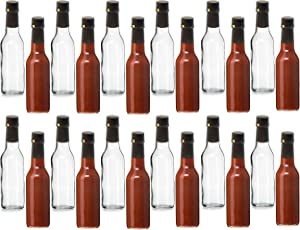 Premium Vials, 5 oz, Glass Woozy Hot Sauce Bottles - Case of 24 (5 Oz with Screw Caps, Shrink Capsules)