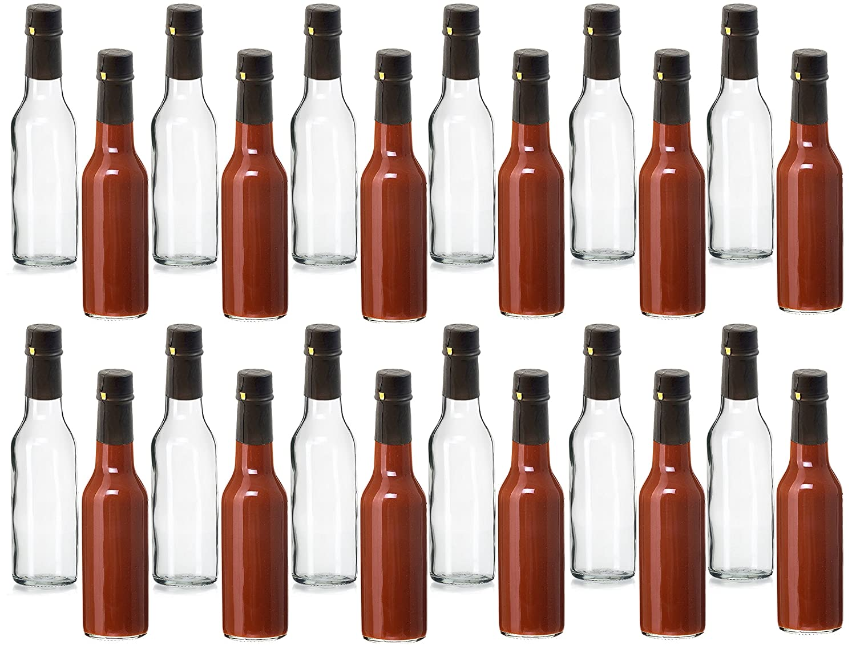 Premium Vials, 5 oz, Glass Woozy Hot Sauce Bottles - Case of 24 (5 Oz with Screw Caps, & Shrink Capsules) saushb4