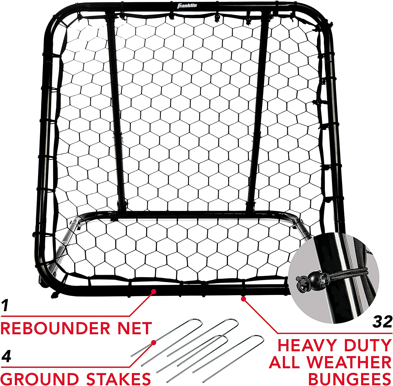 Multi-Sport Training Rebound Screen 3 x 3 Franklin Sports Basketball Pass Back Rebounder Net Perfect for Passing and Shooting Practice