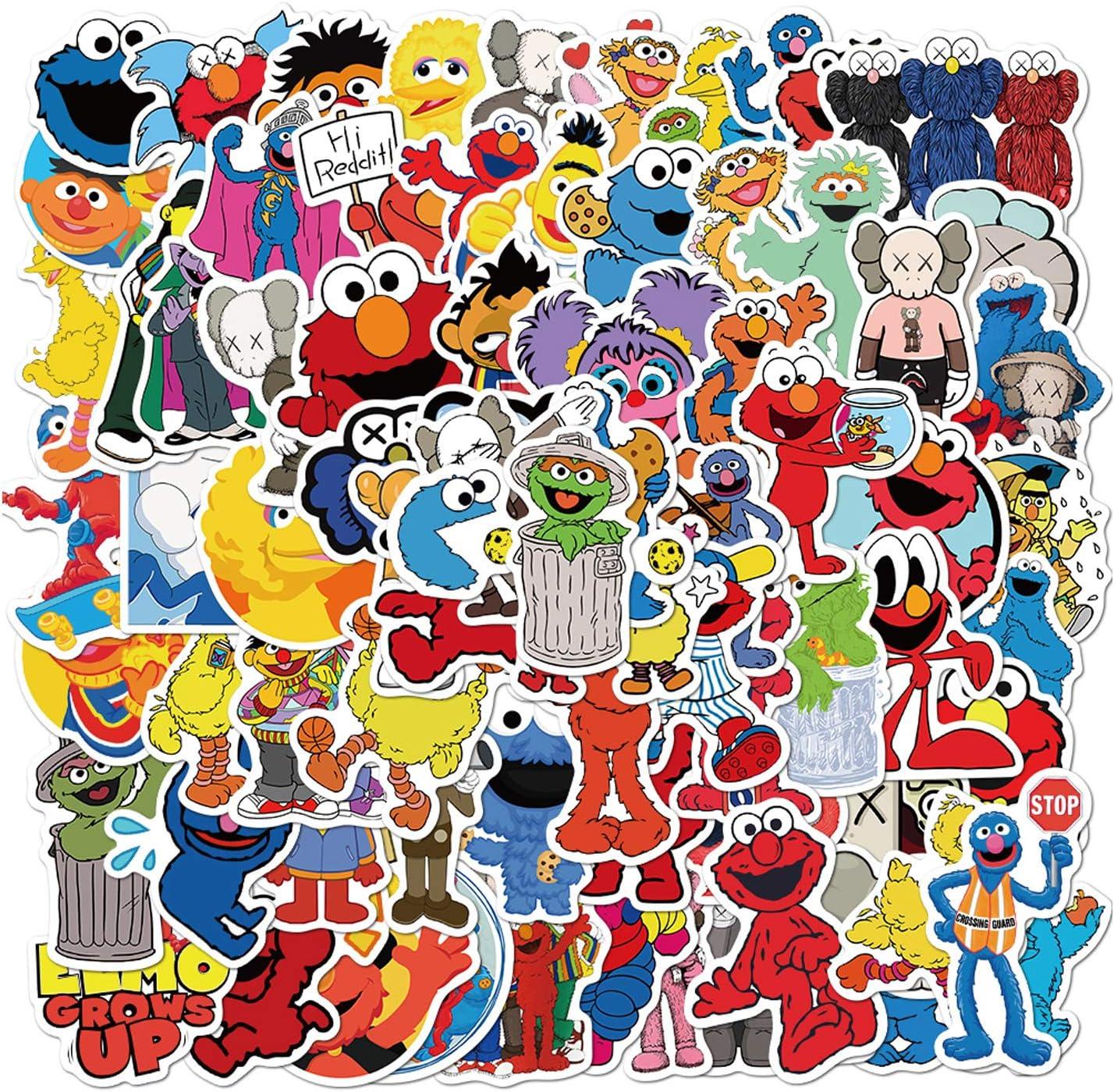 100PCS Sesam_e Street Stickers Elmo Stickers Waterproof Vinyl Stickers for Toddlers Kids Teens Adults Water Bottle House Skateboard