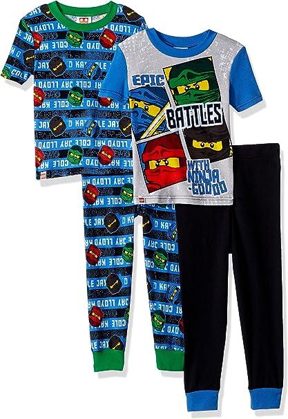 LEGO Boys Big Ninjago Epic Battle 4pc Pajama, 2sets Sleeve, Long Pant