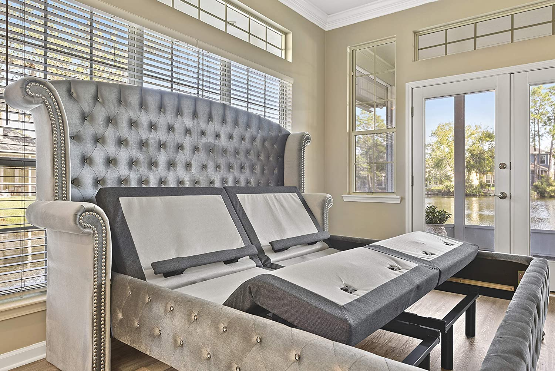 Sven & Son Split King Adjustable Bed Base (Lumbar & Head Tilt) + FREE White Glove Delivery Platinum (Twin XL)