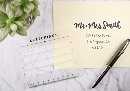 Envelope and address stencil ruler guide and template for writing