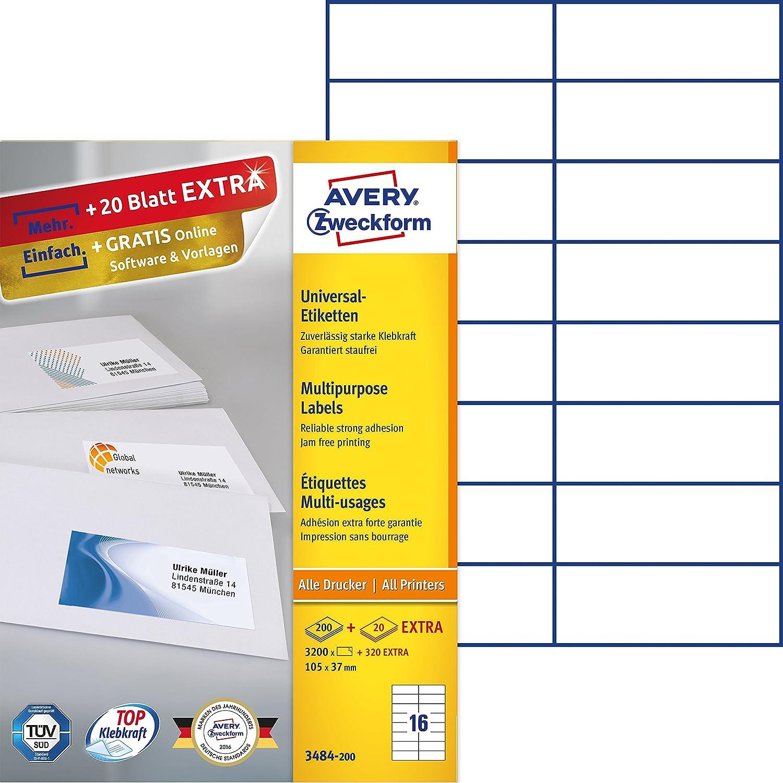 Avery – Etiquetas blanco autoadhesivas multiusos, color blanco Etiquetas 105x37 8c54ce