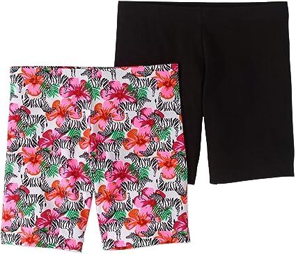 9041ebe32a88 Wonder Nation Girls' Solid and Printed Cotton Bike Shorts 2-Pack Set, Black