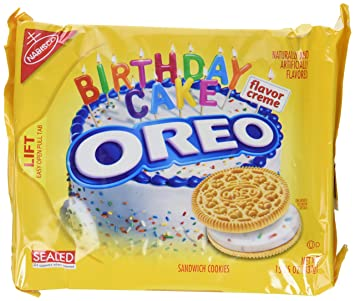 Amazoncom Nabisco Oreo Birthday Cake Creme Golden Cookie 1525