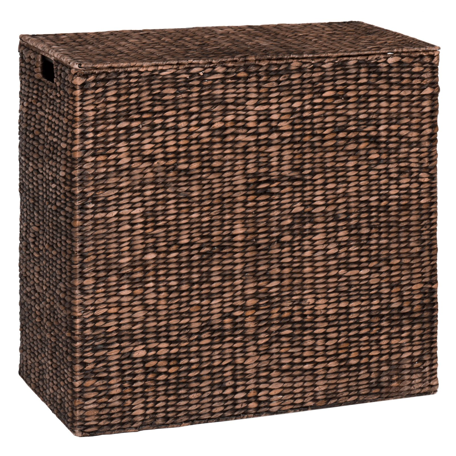Happybeammy Water Hyacinth Double Laundry Hamper Basket 2 Liner Basket Bags Brushed Espresso
