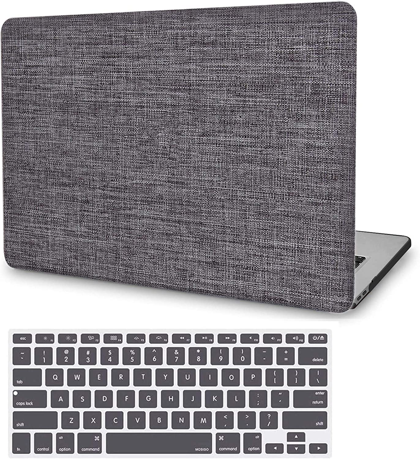 MacBook Air 13 Inch Case A1466 A1369, JGOO Slim Soft Touch Fabric Hard Protective Laptop Shell Cover Case with Keyboard Cover for Apple Mac Air 13.3 Inch (Older Version 2010-2017 Release), Grey