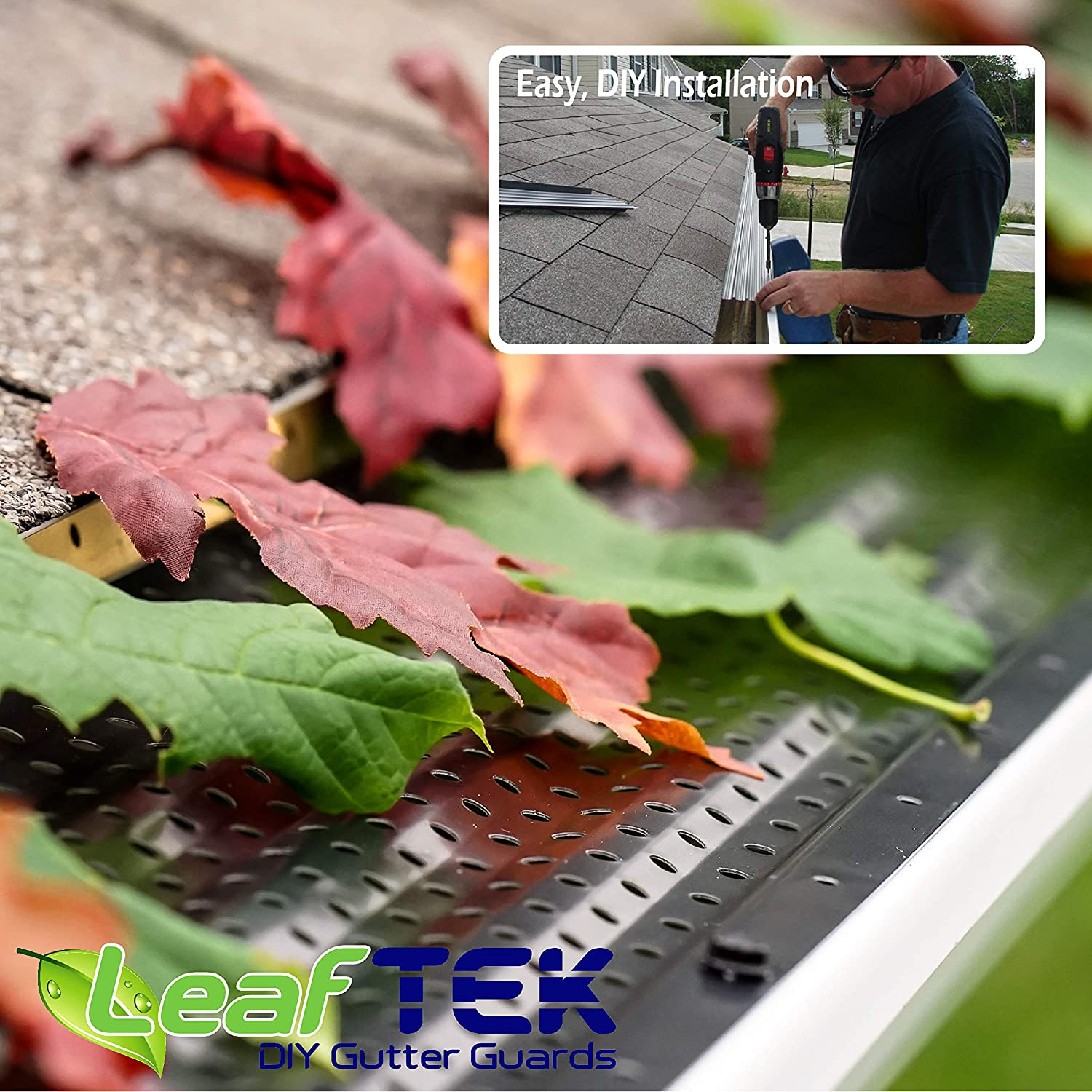 32//100//200 Available in 5 or 6 Inch LeafTek 5 x 100 Gutter Guard Leaf Protection White or Black DIY Premium Contractor Grade 35 Year Aluminum Covers