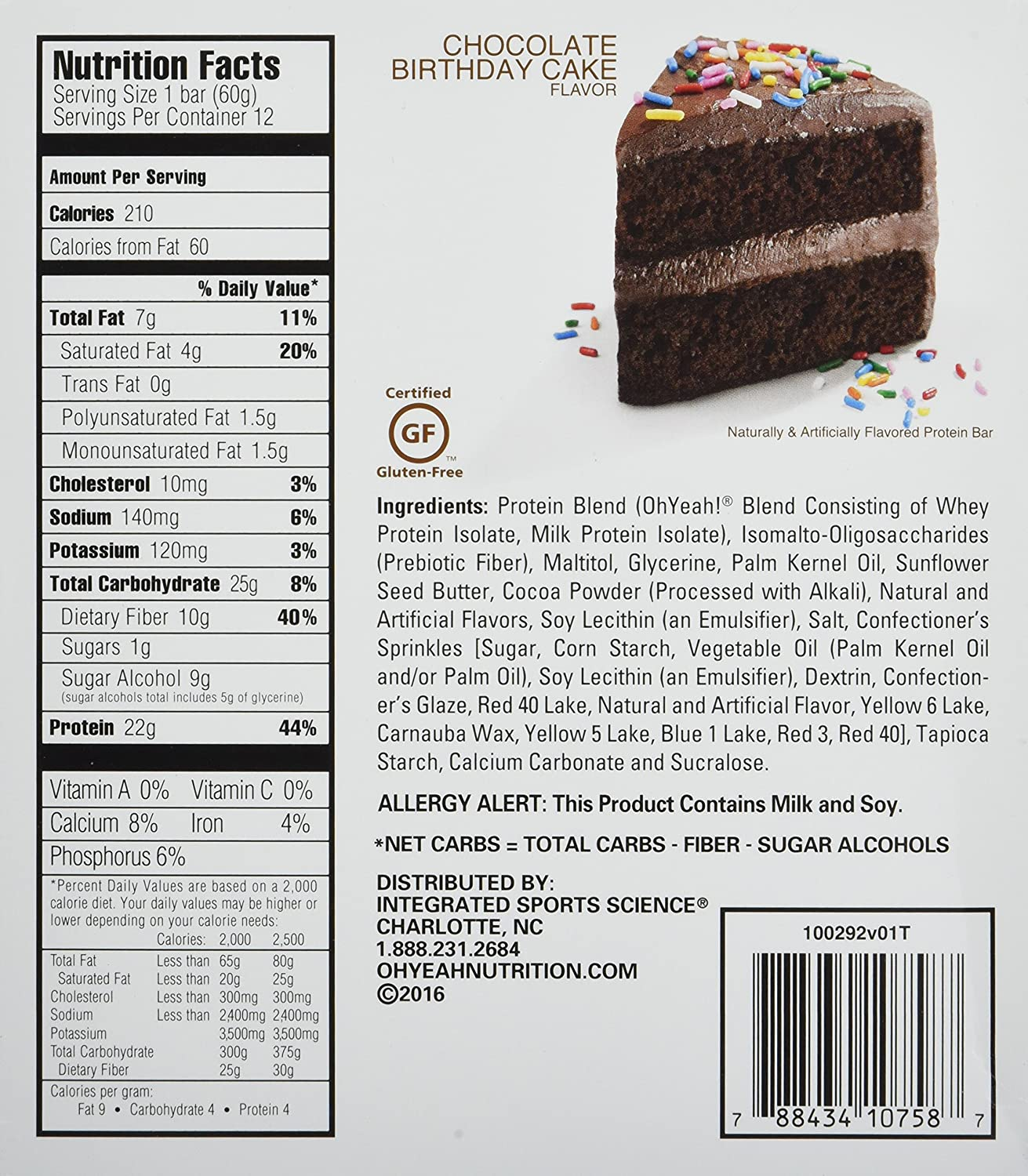 Amazon ONE Protein Bar Chocolate Birthday Cake 22g 1g Sugar 12 Pack Health Personal Care