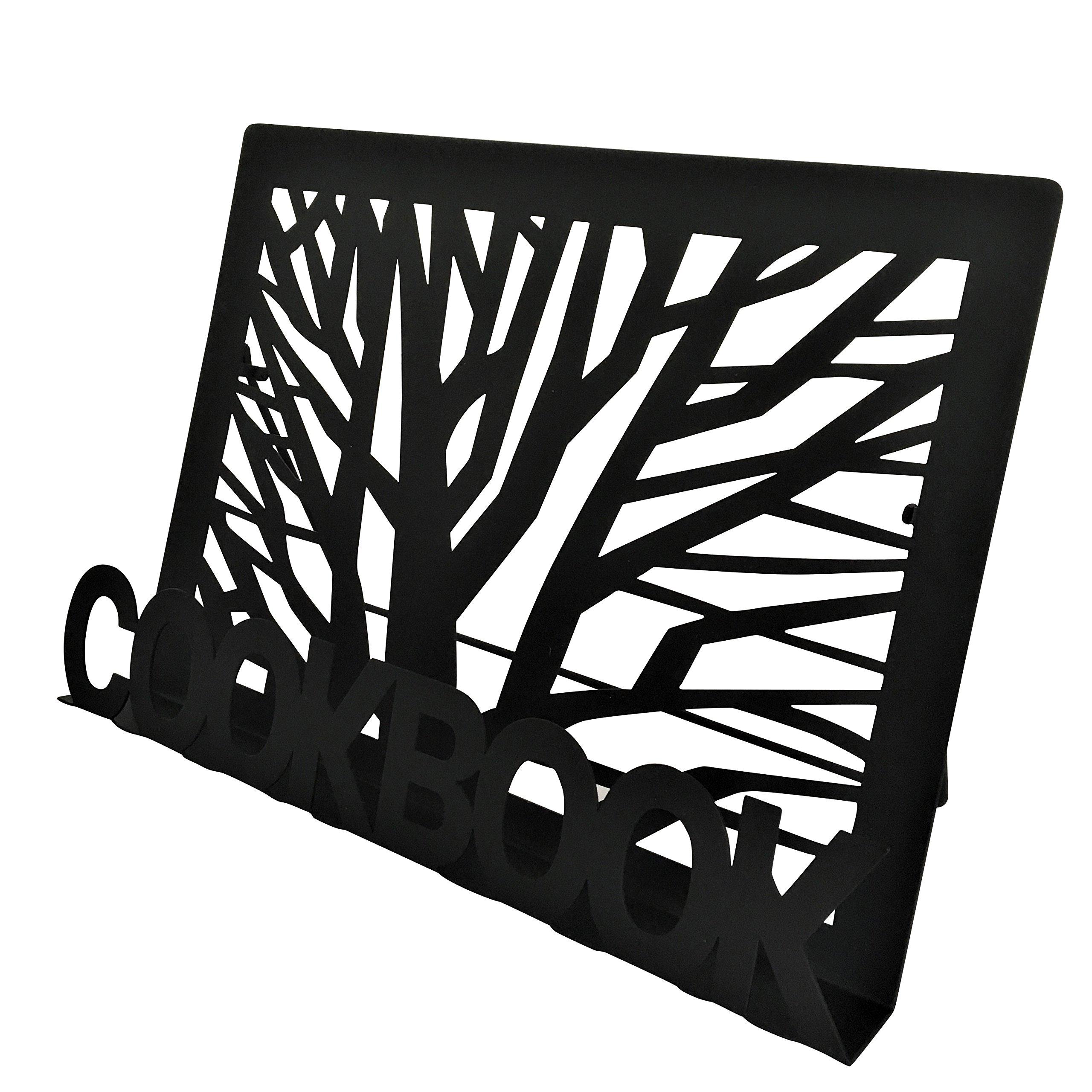 Cookbook Holder Recipe Book Stand - Black Metal - Tree design