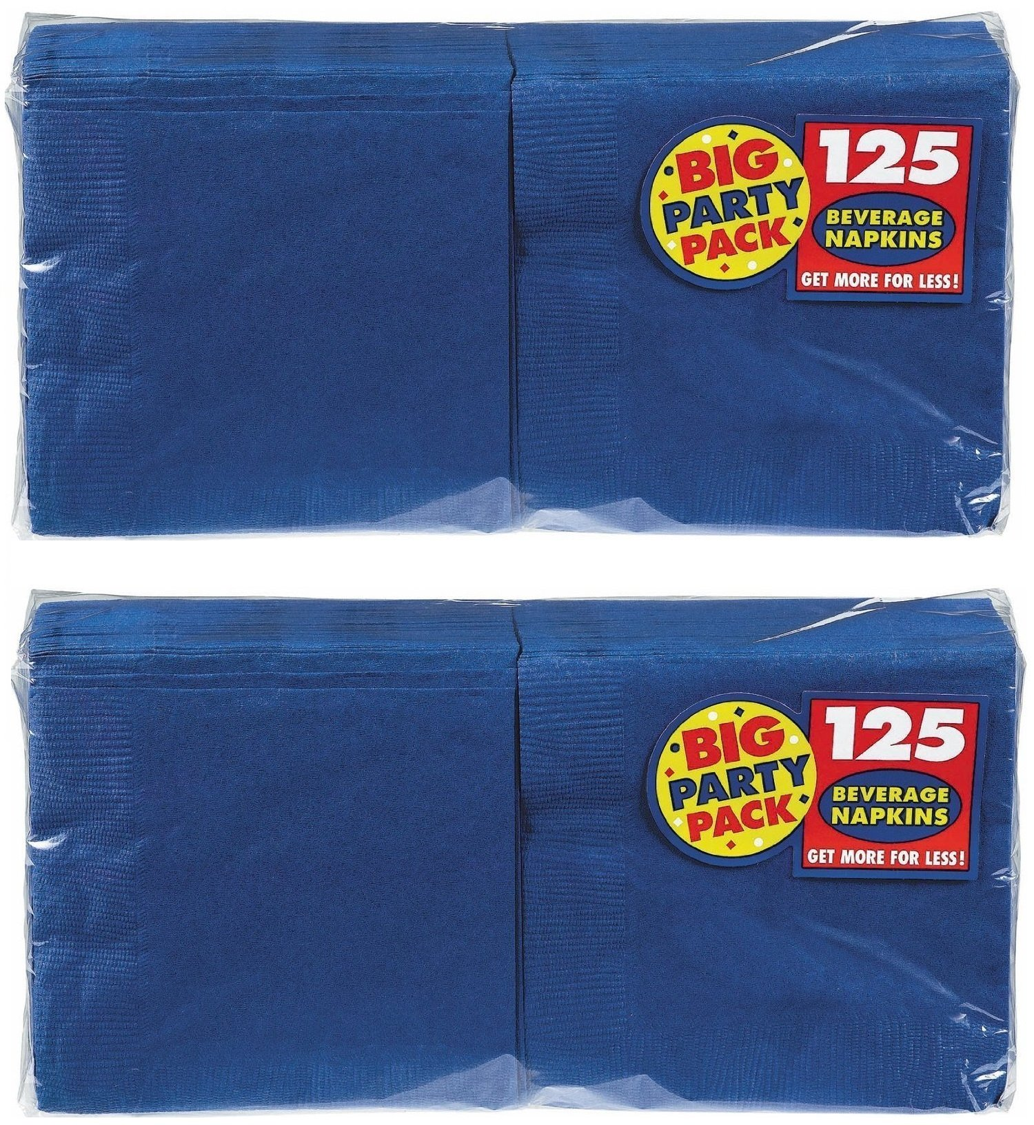 Big Party Pack Beverage Napkins 5-Inch, 125/Pkg, Bright Royal Blue (2 PACK)