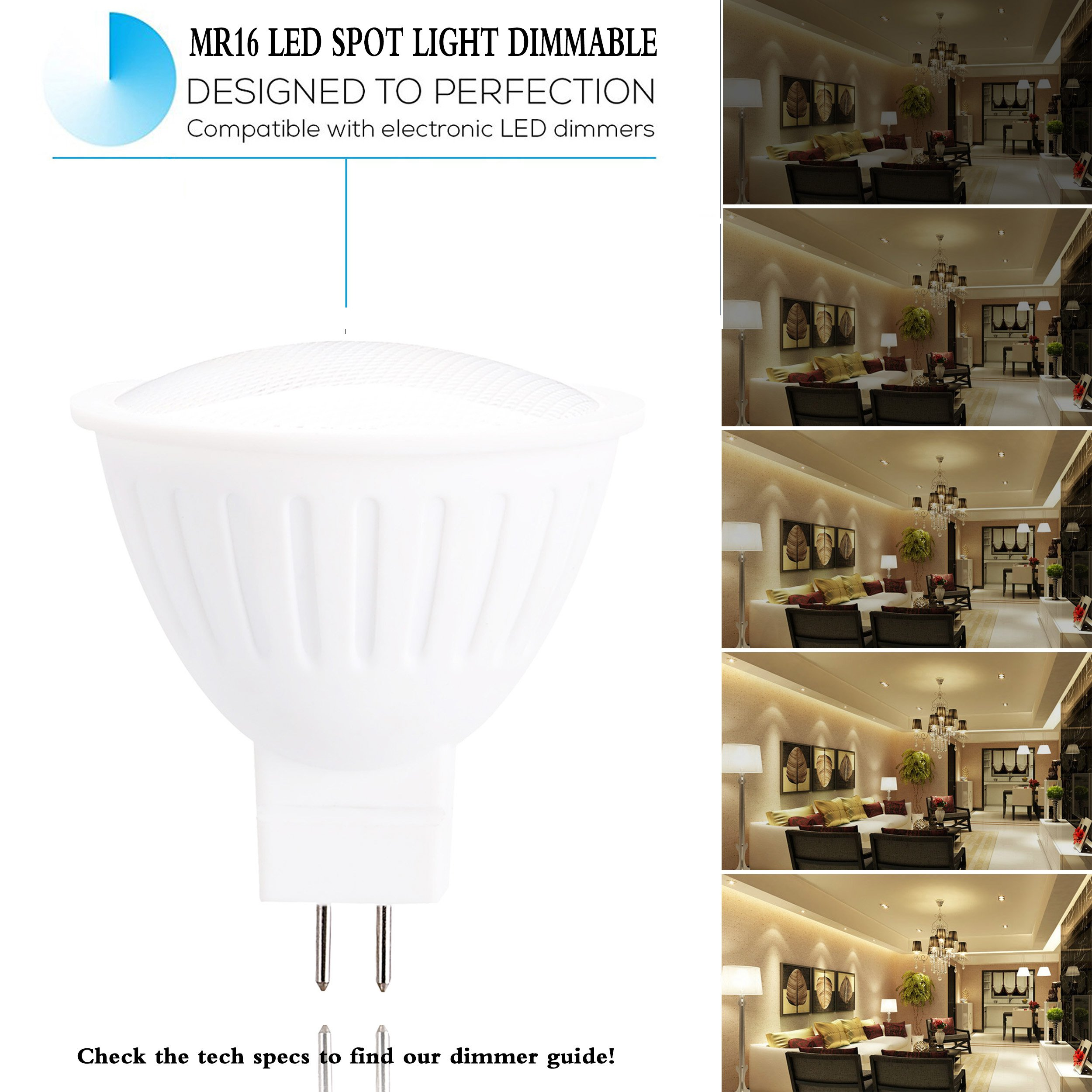 5W MR16 LED Spot lamp Bulb, 120Volts,50W Halogen Replacement, Dimmable, 4000K Natural White, 500 Lumens, 120° Beam Angle LED Spotlight, GU5.3 Base, Track Lights, Kitchen Cabinet Lights -4 Packs