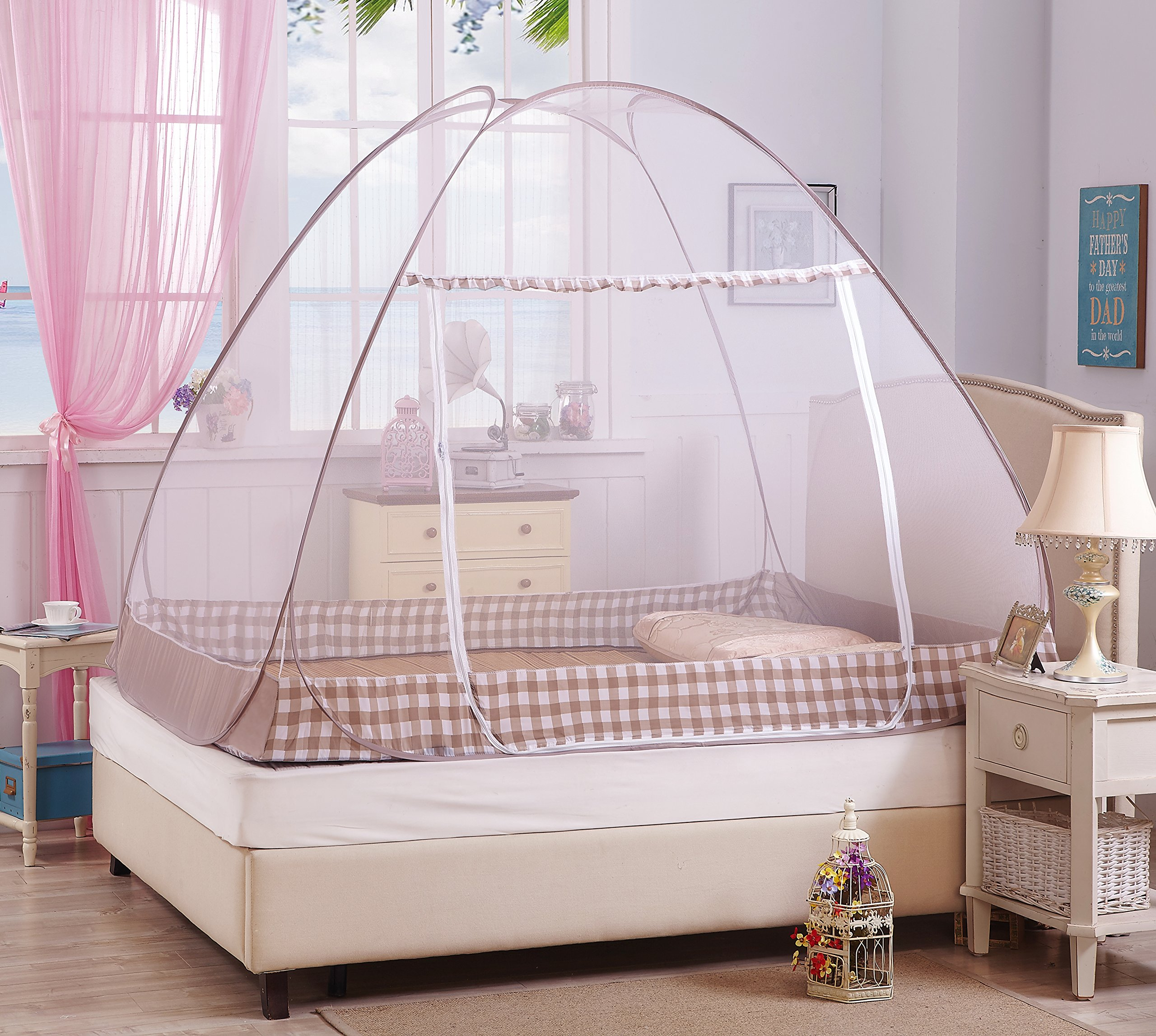 Hasika Pop-Up Mosquito/Folding Mosquito Net Tent Canopy Curtains for Beds Anti Mosquito Bites Folding Design with net Bottom for Babys Adults Trip(59 x 79 x 58 inches) by Hasika