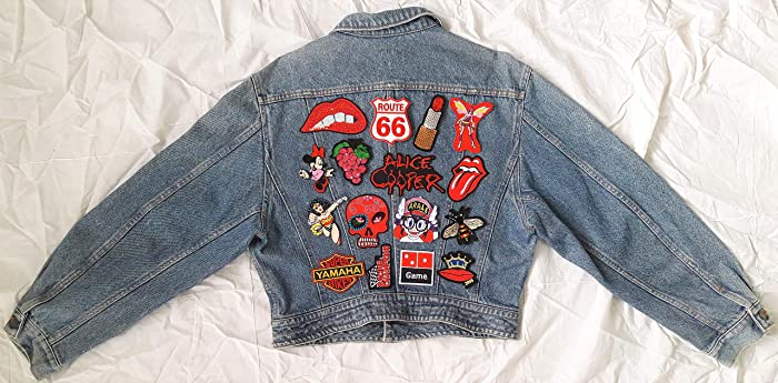 Amazon Com Hand Reworked Vintage Crop Jean Jacket With Patches