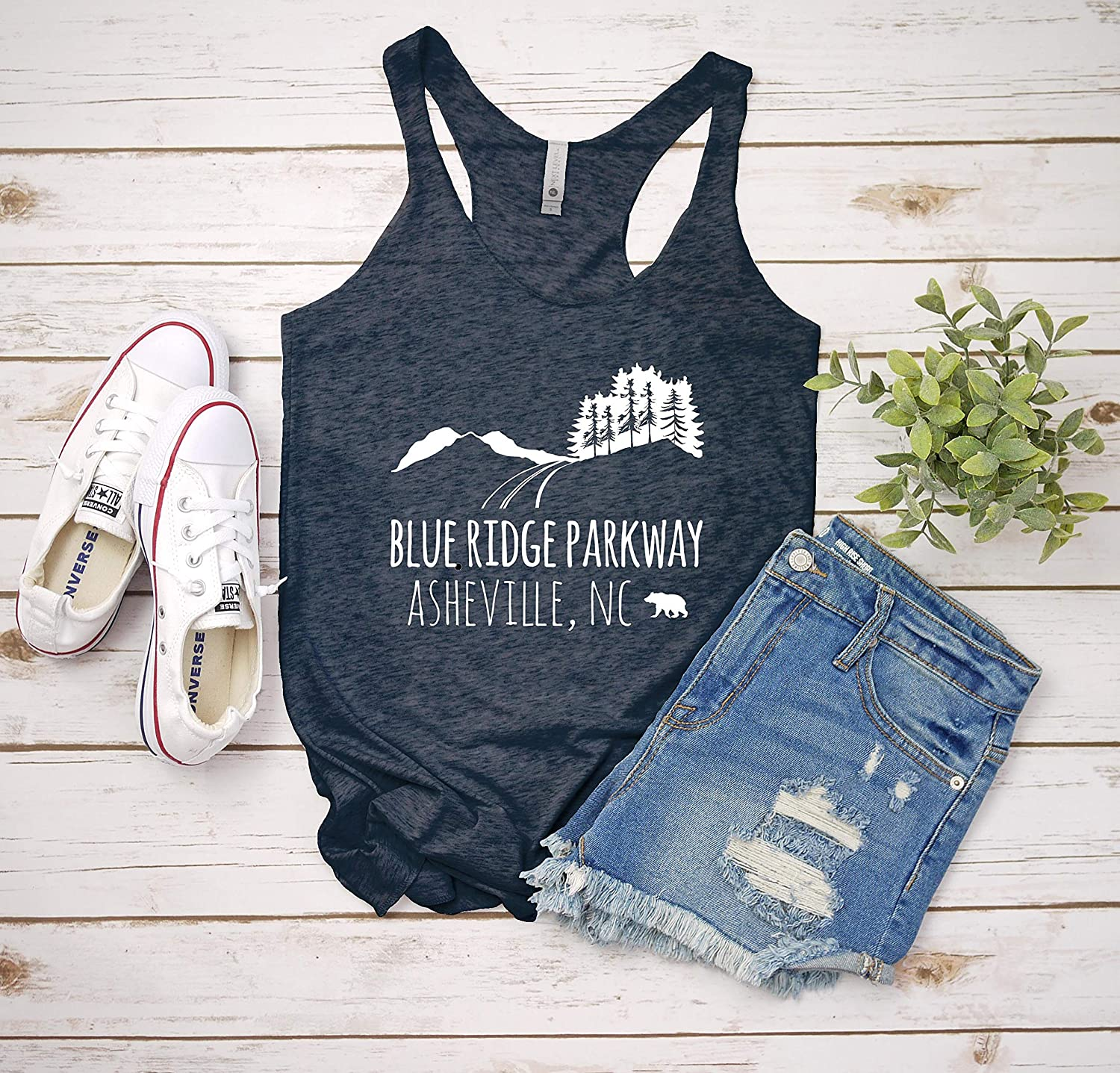 Blue Ridge Parkway Indigo or White Yoga Tee Funny Gift for Her Womens Graphic Racerback Tank Top Shirts with Sayings