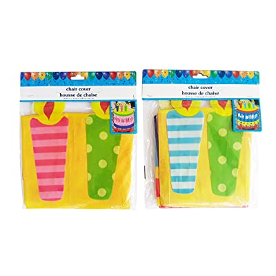 Chair Cover 2 Happy Birthday Birthday Cake with Candles Design (Boy and Girl): Toys & Games