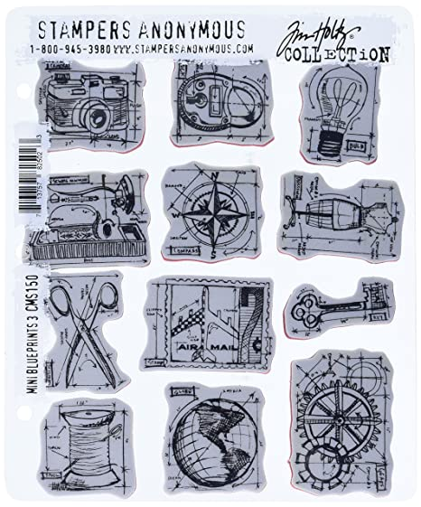 Amazon Com Stampers Anonymous Tim Holtz Cling Rubber Stamp Set 7