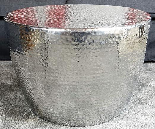 Design Couchtisch ORIENT 80cm Metall silber Tisch Hammerschlag Beistelltisch