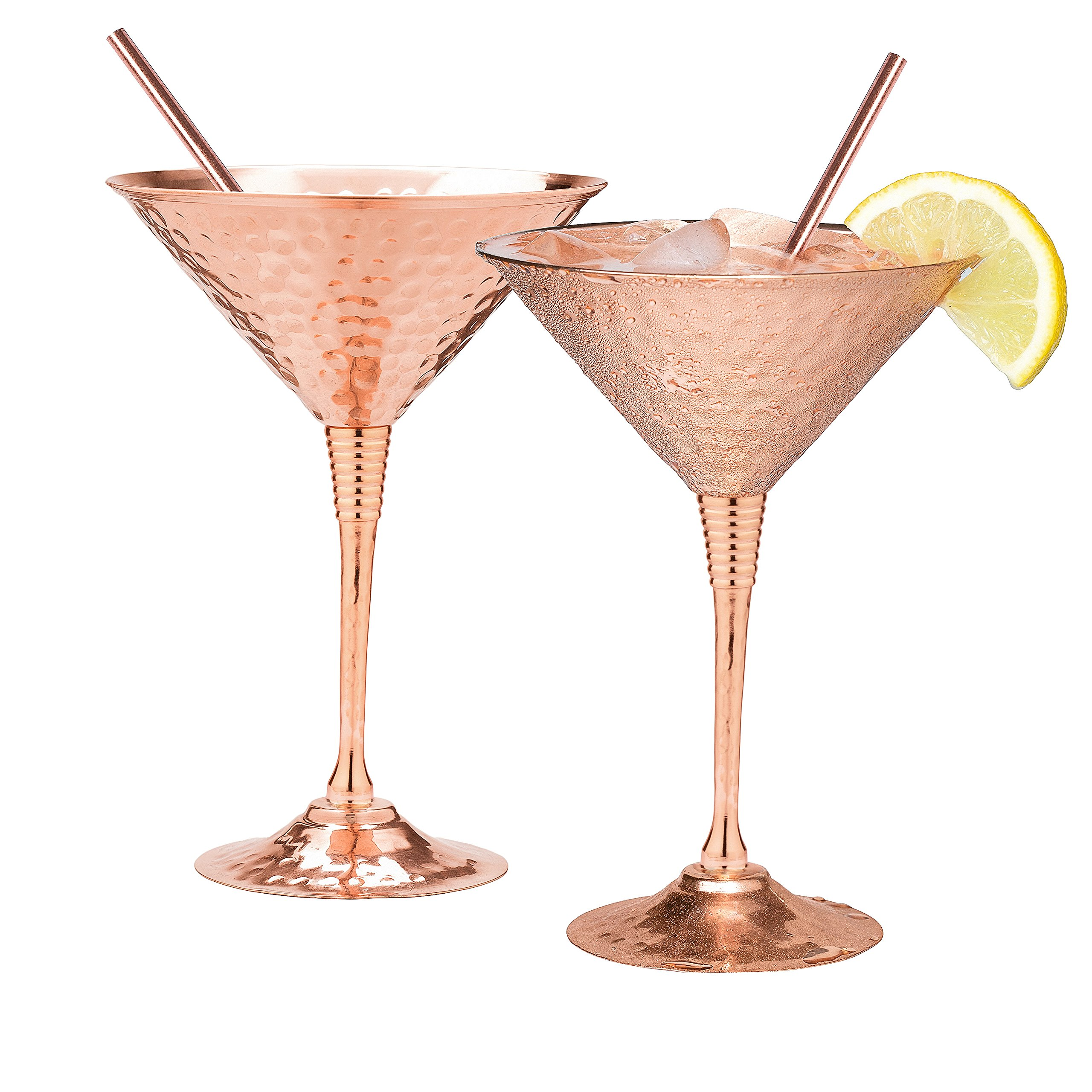 Copper martini glasses set of 2 by Mosscoff – 9.5oz Hand hammered solid copper goblets with exquisite reinforcement ring. – Bonus pure copper straws – A gift set no one can resist.