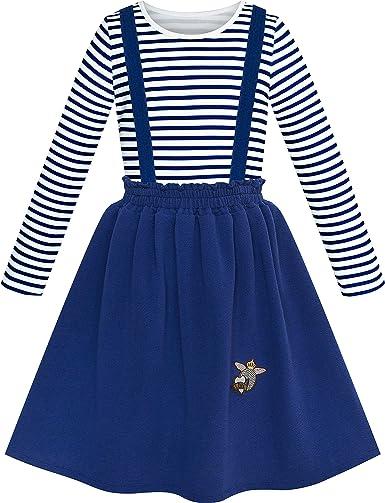Sunny Fashion Vestido para niña 2 Piezas Conjunto Camiseta Liga Falda Uniforme Escolar 4-12 años: Amazon.es: Ropa y accesorios