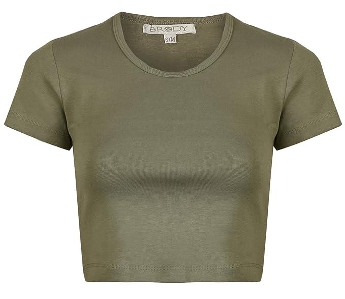 Top para mujer, camiseta corta elástica para gimnasio / entrenamiento / yoga, color liso, manga corta de 3/4, hecha de algodón y spandex: Amazon.es: Ropa y ...