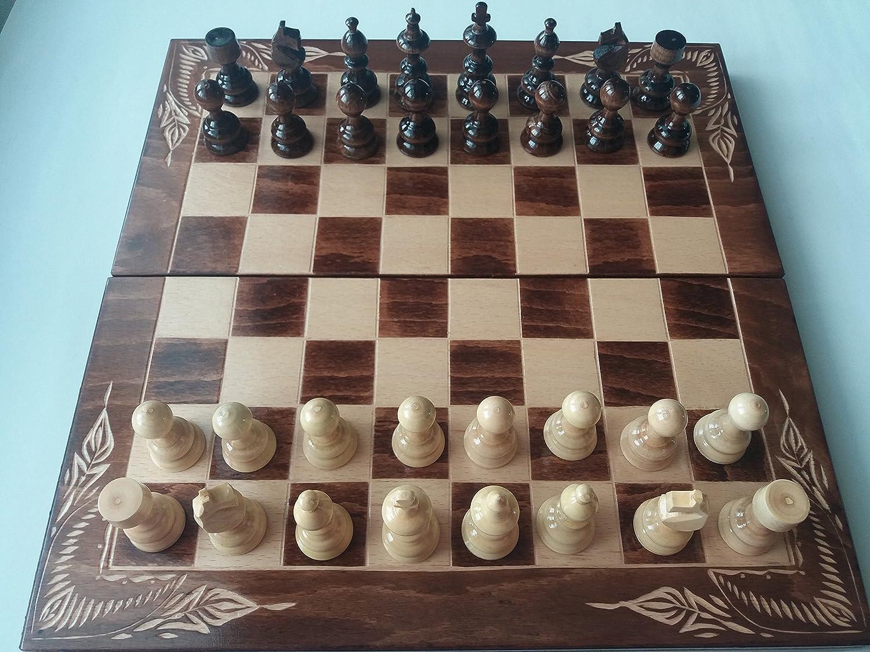 Nouveaux marron échecs faits main, damiers, backgammon, pièce d'échecs en bois noisette, boîte d'échiquier en bois de hêtre 38x38cm, jeu d'échecs en bois, garçon de jeu éducatif