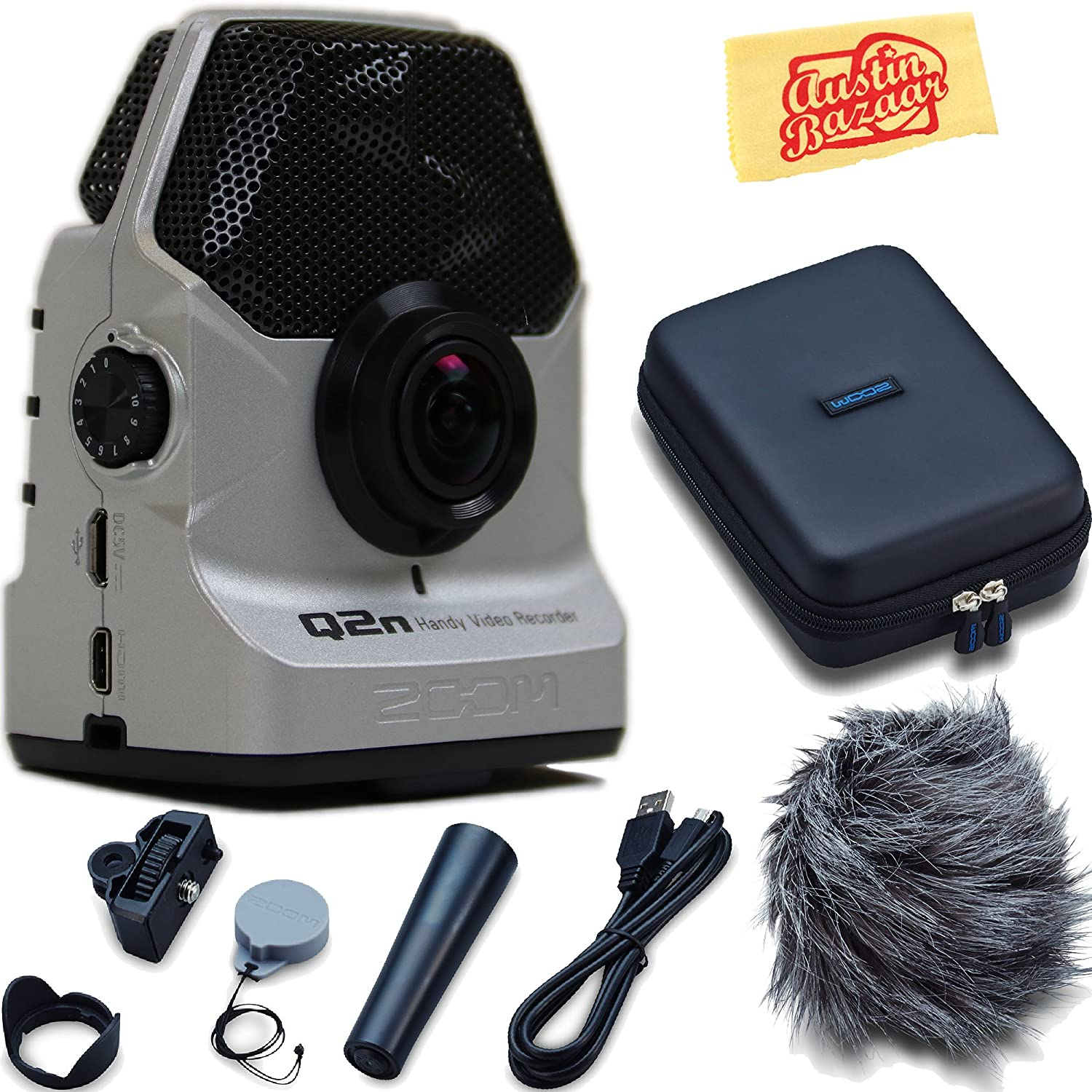 Zoom Q2n Handy Video Recorder - Silver Bundle with Zoom APQ-2n Accessory Pack and Austin Bazaar Polishing Cloth Q2NS-COMBO-PAC
