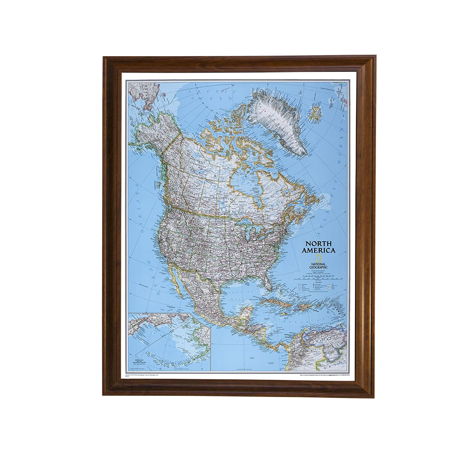 Classic North America Push Pin Travel Map with Brown Frame and Pins Push Pin Travel Maps