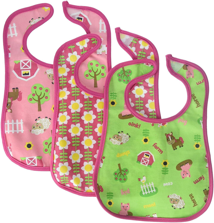Neat Solutions 3 Pack Printed Interlock/Water Resistant Feeder Bib, Girl, One Size