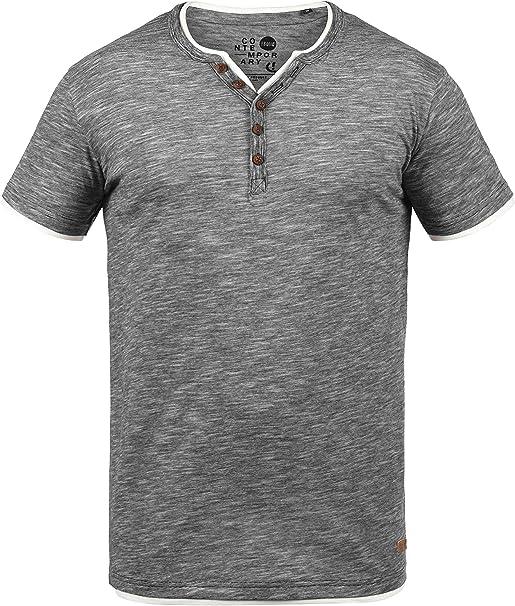 !Solid Tihn T-Shirt A Maniche Corte Maglietta da Uomo con Collo Grandad in Cotone 100/%