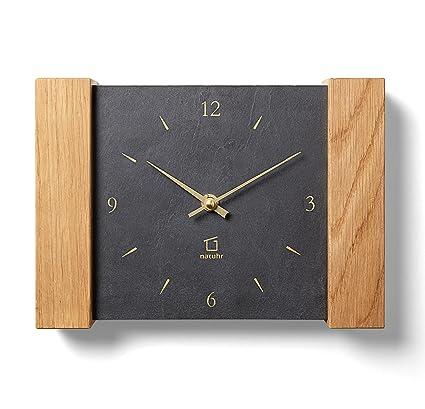 Reloj de chimenea / Reloj de pared Dachstein - Natuhr - Madera de roble sólida con el dial de pizarra - Made in Germany