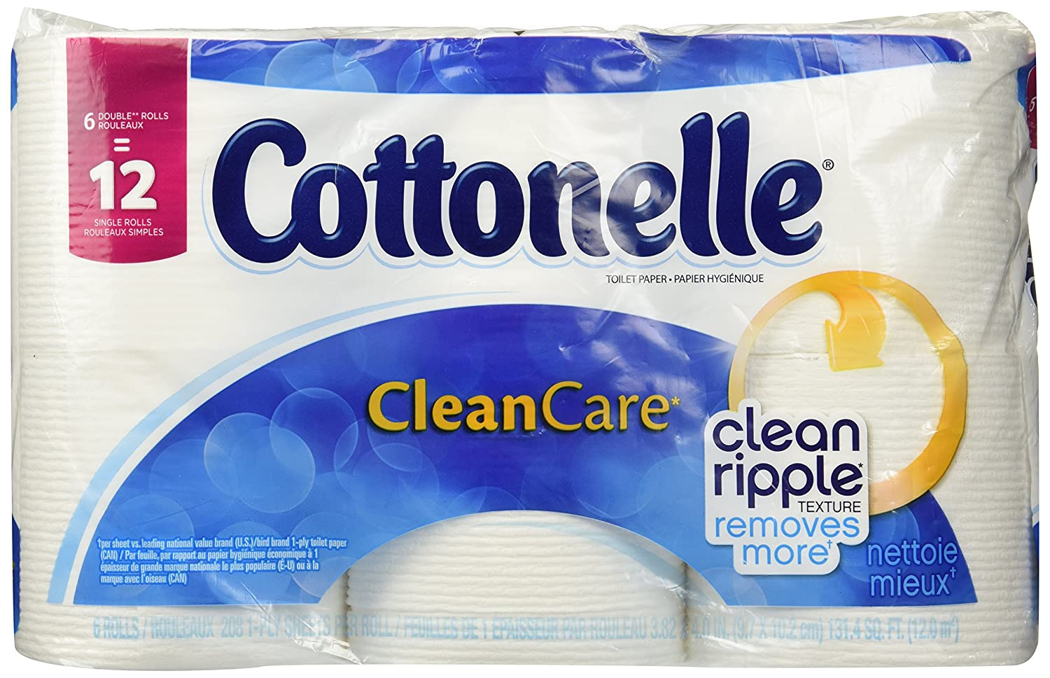 Amazon.com: Cottonelle Clean Care Toilet Paper, Double Roll (6 Rolls): Health & Personal Care