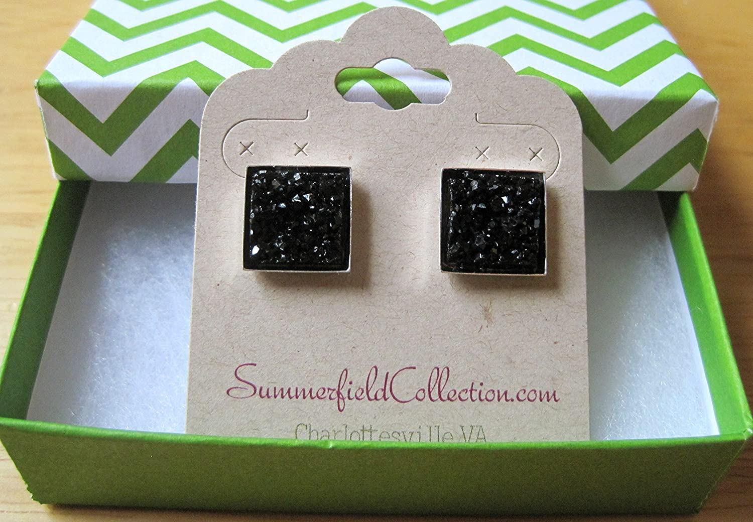 Silver-tone and Black Geometric Square Shaped Chunky Faux Druzy Stud Earrings 12mm Statement