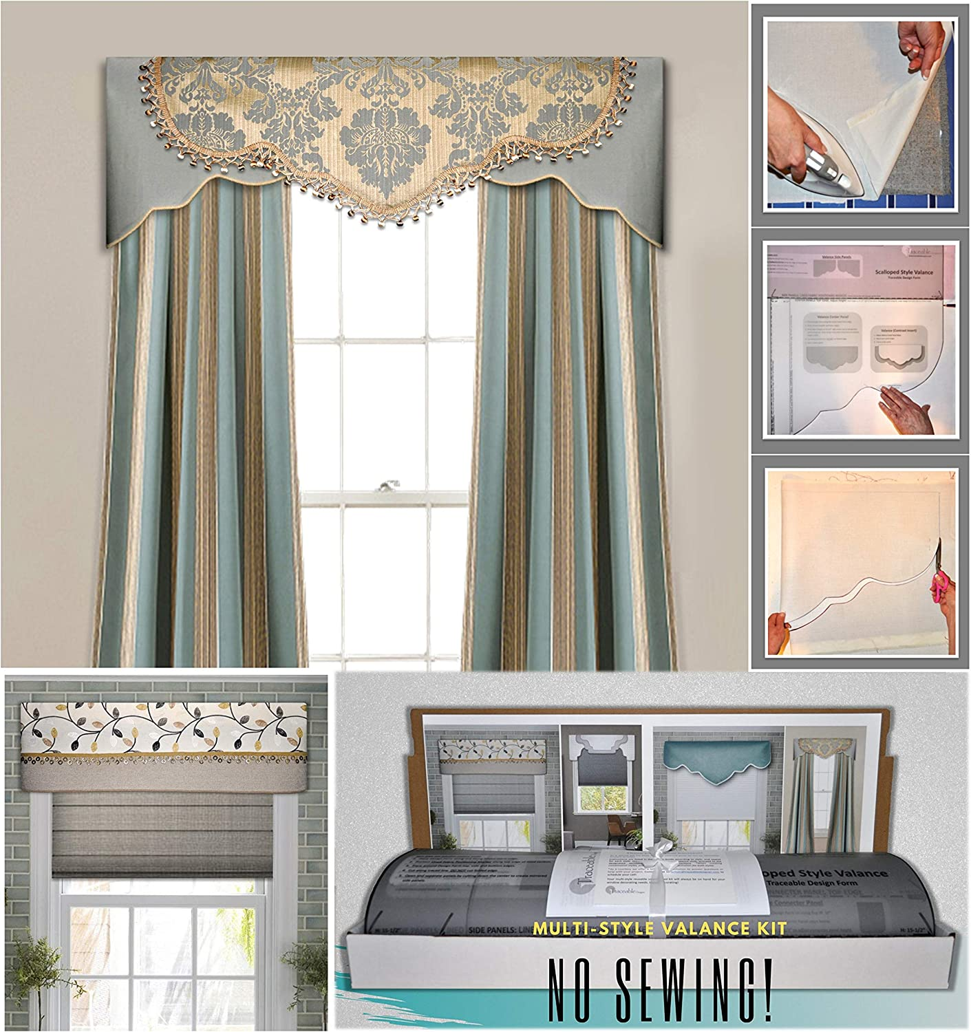 Amazon Com Diy Valance Kit No Sewing Three Styles In One Kit Fit All Window Sizes Including Bay Windows Reusable Pattern No Sew Room Decor Bedroom Living Room Dining Room Kitchen Curtain Cornice