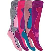 4 Pairs Mens Womens Kids Winter Warm Knee High Colourful Wool Blend Ski Socks